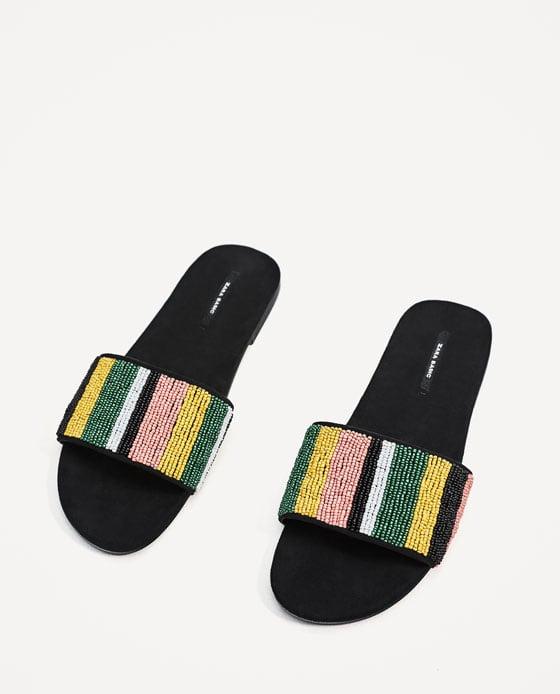 zara beaded slippers