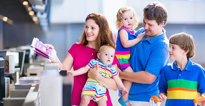 Happy family travelling together